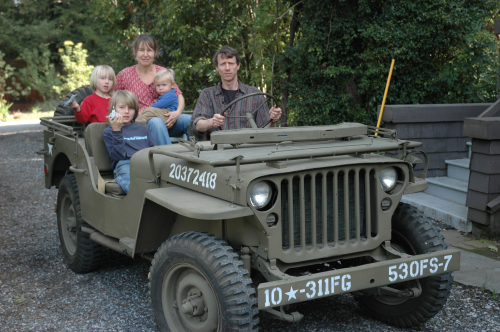 Dan family in Jeep